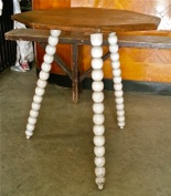 Antique Oak Cricket Table with Bobbin Legs and Original Paint